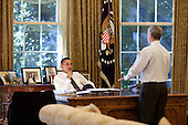Washington, DC - October 9, 2009 -- United States President Barack Obama meets with White House Chief of Staff Rahm Emanuel in the Oval Office, October 9, 2009.  .Mandatory Credit: Pete Souza - White House via CNP