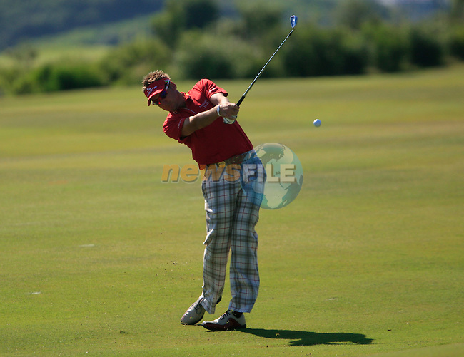 Ian Poulter (ENG) plays his 2nd shot on the 7th hole during the morning session on Day 3 of the Volvo World Match Play Championship in Finca Cortesin, Casares, Spain, 21st May 2011. (Photo Eoin Clarke/Golffile 2011)