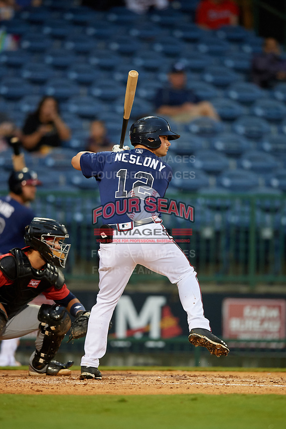 Mississippi Braves Tyler Neslony (12) at bat during a Southern League game against the Jacksonville Jumbo Shrimp on May 4, 2019 at Trustmark Park in Pearl, Mississippi.  Mississippi defeated Jacksonville 2-0.  (Mike Janes/Four Seam Images)