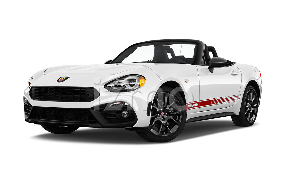 Stock pictures of low aggressive front three quarter view of 2017 Fiat 124-Spider Abarth 2 Door Convertible Low Aggressive