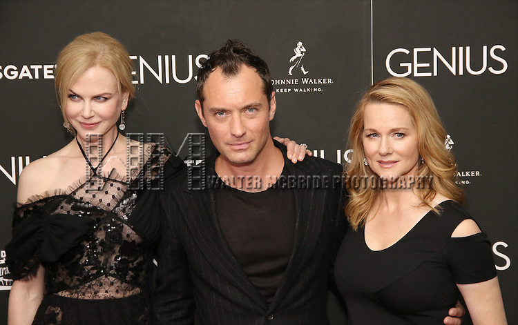 Nicole Kidman, Jude Law and Laura Linney attends 'Genius' New York premiere at Museum of Modern Art on June 5, 2016 in New York City.