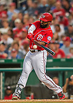 29 July 2017: Washington Nationals outfielder Brian Goodwin in action against the Colorado Rockies at Nationals Park in Washington, DC. The Rockies defeated the Nationals 4-2 in the first game of their 3-game weekend series. Mandatory Credit: Ed Wolfstein Photo *** RAW (NEF) Image File Available ***