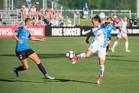 Kansas City, MO - Sunday May 07, 2017: Katie Bowen, Camila Martins Pereira during a regular season National Women's Soccer League (NWSL) match between FC Kansas City and the Orlando Pride at Children's Mercy Victory Field.