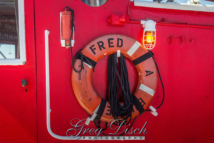 "Fire Boat ""Fred A. Busse"" loacted in Sturgeon Bay Wisconsin.  Originally designed as a City of Chicago Fireboat, the ""Fred A. Busse"" was built in Bay City, Michigan in 1937.  It served the Chicago Fire Department for many years and now houses a small museum dedicated to Chicago's firefighting efforts."