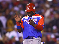 Anthony Garcia (44) of the Caguas Criollos of Puerto Rico celebrates career in the eighth inning of the Caribbean Series baseball game against the Tomateros of Culiacan de Mexico in Guadalajara, Mexico, Friday, February 2, 2018. (AP Photo / Luis Gutierrez)