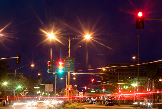A chaos of street lights, traffic signals and car lights in Culver City, CA, USA at dusk. Long Exposure.