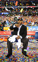 Jan 10, 2011; Glendale, AZ, USA; Auburn Tigers former running back Bo Jackson on the sidelines following the game against the Oregon Ducks during the 2011 BCS National Championship game at University of Phoenix Stadium. The Tigers defeated the Ducks 22-19. Mandatory Credit: Mark J. Rebilas-