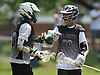 Eddie Montemurro #28 of the New York All Greys (Kings Park HS), right, congratulates Thomas Sangiovanni #23 (Harborfields HS) after he scored a goal in a Warrior Lacrosse Classic Class of 2019 tournament game against Team Central (Massachusetts) at Hofstra University on Sunday, July 17, 2016. The All Greys won by a score of 12-4.