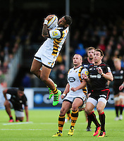 Frank Halai of Wasps claims the ball in the air. Aviva Premiership match, between Saracens and Wasps on October 9, 2016 at Allianz Park in London, England. Photo by: Patrick Khachfe / JMP