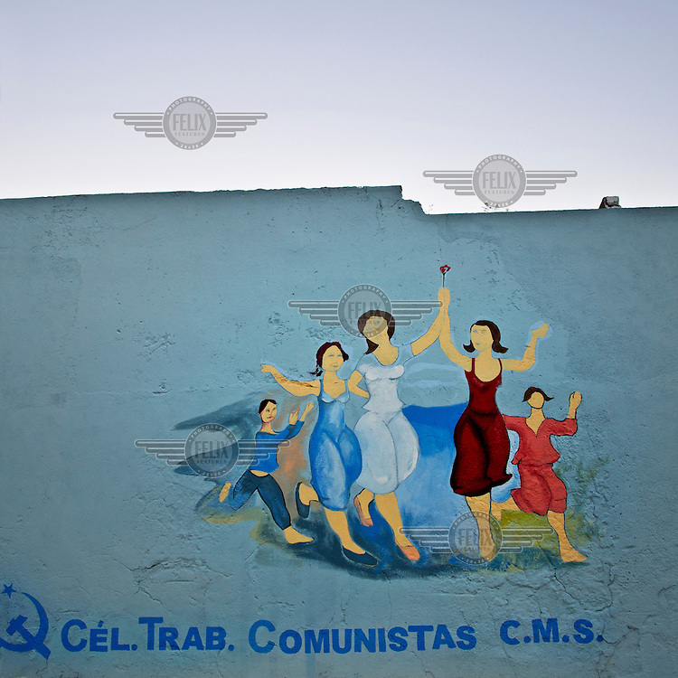 Graffiti commemorating the celebration of Communist Workers Day.