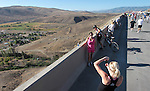 "Kelly Frantz takes a picture of Stacie Hancock during the I-580 ""Rush to Washoe"" event Saturday, July 28, 2012. The bike, run, walk event gave residents a chance to enjoy the views on what is being called the most scenic highway in Nevada before it opens to traffic later in August..Photo by Cathleen Allison"