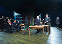 An Enemy of The People by Henrik Ibsen, a new version by Christopher Hampton directed by Howard Davies. With Jonathan Cullen as Aslaksen, Hugh Bonneville as Dr Tomas Stockmann, [at the table] Opens at Chichester Festival Theatre on 4/5/16 CREDIT Geraint Lewis