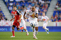 Thierry Henry (14) of the New York Red Bulls runs down a ball played into space. The New York Red Bulls defeated Toronto FC 5-0 during a Major League Soccer (MLS) match at Red Bull Arena in Harrison, NJ, on July 06, 2011.