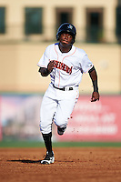 Jupiter Hammerheads center fielder Junior Sosa (4) running the bases during a game against the Palm Beach Cardinals on August 13, 2016 at Roger Dean Stadium in Jupiter, Florida.  Jupiter defeated Palm Beach 6-2.  (Mike Janes/Four Seam Images)