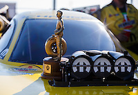 Oct 16, 2016; Ennis, TX, USA; Detailed view of the Wally trophy of NHRA funny car driver Matt Hagan after winning the Fall Nationals at Texas Motorplex. Mandatory Credit: Mark J. Rebilas-USA TODAY Sports