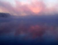Mississippi River and fog at daybreak, Port Louisa National Wildlife Refuge, Louisa County, Iowa