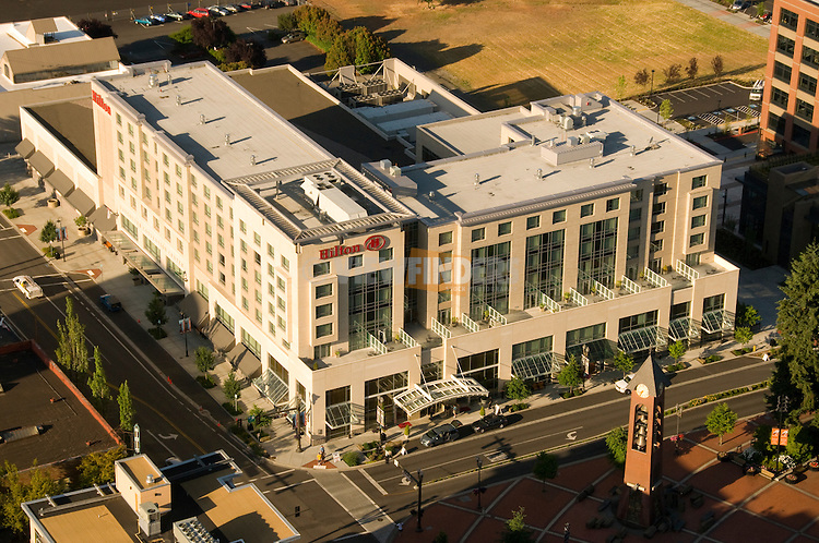 Aerial of the Hilton Hotel in Downtown Vancouver, Washington