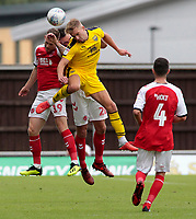 Oxford United's Curtis Nelson heads away from Fleetwood Town's Gethin Jones<br /> <br /> Photographer David Shipman/CameraSport<br /> <br /> The EFL Sky Bet League One - Oxford United v Fleetwood Town - Saturday August 11th 2018 - Kassam Stadium - Oxford<br /> <br /> World Copyright &copy; 2018 CameraSport. All rights reserved. 43 Linden Ave. Countesthorpe. Leicester. England. LE8 5PG - Tel: +44 (0) 116 277 4147 - admin@camerasport.com - www.camerasport.com