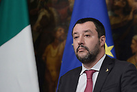 Roma, 17 Gennaio 2019<br /> Matteo Salvini.<br /> Conferenza stampa al termine del Consiglio dei Ministri che ha approvato il decreto legge su Reddito di cittadinanza e pensioni