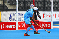 Talwinder Singh of India shoots for goal during the Hockey World League Quarter-Final match between India and Malaysia at the Olympic Park, London, England on 22 June 2017. Photo by Steve McCarthy.
