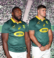 Tendai Mtawarira with Malcolm Marx during the South African Official Springbok team photograph at the team hotel Southern Sun Pretoria Hotel,Pretoria South Africa. 9th June 2017(Photo by Steve Haag Sports)