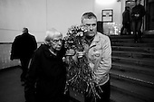 Moscow, Russia<br /> March 31, 2010<br /> <br /> Ludmila Alexeeva, 82 years arrives at Park Kultura to place flowers at the subway station where at least 12 people were killed by a terrorist bomb the day before.<br /> <br /> She is Chair of the Moscow Helsinki Group, is the doyenne of Russia's human rights community. Thirty years ago, she was one of the original Soviet-era dissidents who spoke out against repression. Today, she is not afraid to raise her voice in the renewed fight for rights in Russia, including criticizing policies on hate crimes as well as the war in Chechnya, and is a mentor to the new generation of dissidents. Alexeeva published the seminal book Soviet Dissent in 1985. She also served as President of the International Helsinki Federation for Human Rights - an umbrella group of human rights organizations from 38 countries -- from 1999 to 2004.