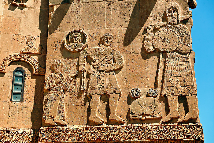 Bas Releif sculptures with scenes from the Bible on the outside of the 10th century Armenian Orthodox Cathedral of the Holy Cross on Akdamar Island, Lake Van Turkey
