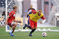 Stuart Holden and Jermaine Jones of the United States (USA) men's national team during a practice session at PPL Park in Chester, PA, on October 11, 2010.