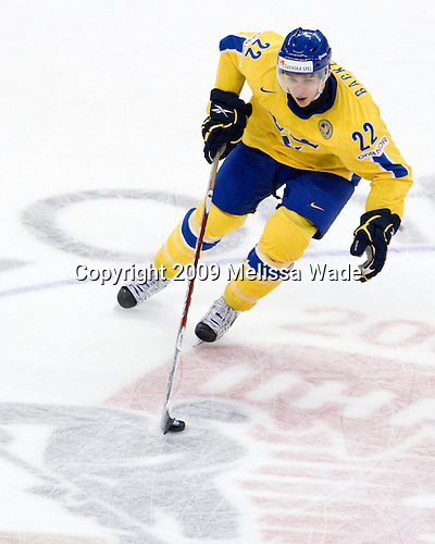 Mikael Backlund (Sweden - 22) - Canada defeated Sweden 5-1 (2 en) in the 2009 World Junior Championship gold medal game on Monday, January 5, 2009, at Scotiabank Place in Kanata (Ottawa), Ontario.  This was the second consecutive year that Canada won gold and Sweden won silver after Canada defeated Sweden in overtime in 2008 and was Canada's fifth consecutive gold.
