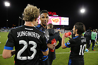 San Jose, CA - Friday April 14, 2017: Florian Jungwirth, Danny Hoesen, Jahmir Hyka  during a Major League Soccer (MLS) match between the San Jose Earthquakes and FC Dallas at Avaya Stadium.