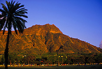 A palm tree frames Diamond Head towering over Waikiki's Kapiolani Park, a popular place for picnics, jogging, walking, tennis, entertainment events, and team sports such as soccer and baseball.