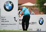 Darren Clarke (NIR) tees off on the 1st tee off during Day 2 of the BMW Italian Open at Royal Park I Roveri, Turin, Italy, 10th June 2011 (Photo Eoin Clarke/Golffile 2011)
