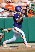 Right Fielder Dominic Attanasio #1 swings at a pitch during a  game against the Miami Hurricanes at Doug Kingsmore Stadium on March 31, 2012 in Clemson, South Carolina. The Tigers won the game 3-1. (Tony Farlow/Four Seam Images)..