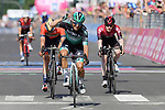 Cesare Benedetti (ITA) Bora-Hansgrohe crosses the finish line ahead of Damiano Caruso (ITA) Bahrain-Merida and Eddie Dunbar (IRL) Team Ineos of Stage 12 of the 2019 Giro d'Italia, running 158km from Cuneo to Pinerolo, Italy. 23rd May 2019<br /> Picture: Gian Mattia D'Alberto/LaPresse | Cyclefile<br /> <br /> All photos usage must carry mandatory copyright credit (© Cyclefile | Gian Mattia D'Alberto/LaPresse)