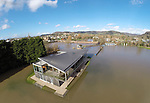 Monmouth School sports pavilion sits surrounded by water after the River Wye bursts its banks in the town.<br /> 11.02.14<br /> <br /> &copy;Steve Pope-FOTOWALES