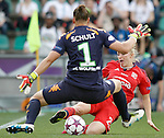 VfL Wolfsburg's Almuth Schult (l) and Olympique Lyonnais' Pauline Bremer during UEFA Women's Champions League 2015/2016 Final match.May 26,2016. (ALTERPHOTOS/Acero)