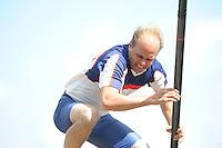 FIERLJEPPEN: JOURE: Accommodatie Koarte Ekers, Fierljepvereniging De Lege Wâlden Joure, 23-06-2012, 1e Klas wedstrijd, Senioren Topklasse, Rein van der Wal (#91), ©foto Martin de Jong