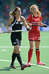 The Hague, Netherlands, May 31: Krystal Forgesson #3 of New Zealand and Stephanie Vanden Borre #22 of Belgium in action during the field hockey group match (Group A) between New Zealand´s Black Sticks and Belgium on May 31, 2014 during the World Cup 2014 at Kyocera Stadium in The Hague, Netherlands. Final score 4:3 (3:0) (Photo by Dirk Markgraf / www.265-images.com) *** Local caption ***