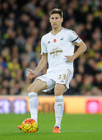 Federico Fernandez of Swansea City during the Barclays Premier League match between Norwich City and Swansea City played at Carrow Road, Norwich on November 7th 2015