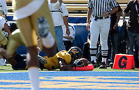 Shane Vereen knocks down the pylon for the touchdown. The California Golden Bears defeated the UCLA Bruins 35-7 at Memorial Stadium in Berkeley, California on October 9th, 2010.