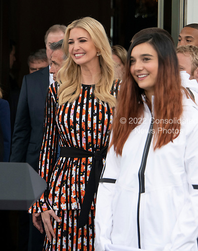 Ivanka Trump attends the ceremony where United States President Donald J. Trump hosts a celebration for Team USA at the White House in Washington, DC on Friday, April 27, 2018.<br /> Credit: Ron Sachs / CNP