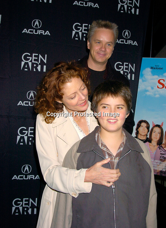 "Tim Robbins, Susan Sarandon and son Miles Robbins..at the Opening of the Gen Art Film Festival screening of ..""Saved"" on April 14, 2004 at the Loews LIncoln Square ...Photo by Robin Platzer, Twin Images"
