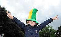 6th September 2013; Ireland supporter, Cillian Hill, aged 5, from Donameade outside the Aviva Stadium before the match .2014 FIFA World Cup Qualifier, Group C,  Republic of Ireland v Sweden, Aviva Stadium, Dublin. Picture credit: Tommy Grealy/actionshots.ie.