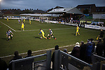 Home supporters watching the action during the second-half at Victory Park, as Chorley played Altrincham (in yellow) in a Vanarama National League North fixture. Chorley were founded in 1883 and moved into their present ground in 1920. The match was won by the home team by 2-0, watched by an above-average attendance of 1127.