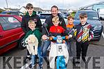 Gerard Mc Namara from Ballybunion with his 5 sons Oisin, Fionn, Gearoid, Ciaran and Aodhan and their Honda 90 at the Ballybunion Vintage rally on Sunday.