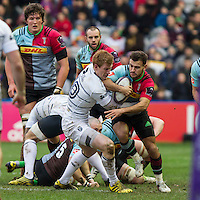 Danny Care tackled by Rhys Patchell, Harlequins v Cardiff Blues in a European Challenge Cup match at Twickenham Stoop, Twickenham, London, England, on 17th January 2016