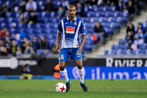 4th January 2018, Cornella-El Prat, Cornella de Llobregat, Barcelona, Spain; Copa del Rey football, round of 16, first leg, Espanyol versus Levante; Brazilian defender of RCD Espanyol Naldo looking for a team mate to pass off to