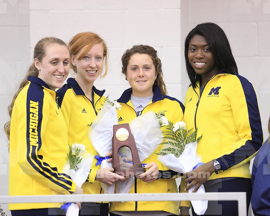 The University of Michigan women's track and field team at the NCAA Indoor National Championships at the Tyson Indoor Track, Fayetteville, Ark., on March 9, 2013.