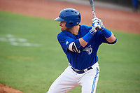 Dunedin Blue Jays right fielder Connor Panas (15) at bat during a game against the Bradenton Marauders on July 17, 2017 at Florida Auto Exchange Stadium in Dunedin, Florida.  Bradenton defeated Dunedin 7-5.  (Mike Janes/Four Seam Images)