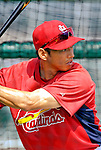 28 February 2007: St. Louis Cardinals left fielder So Taguchi takes batting practice prior to facing the Florida Marlins on Opening Day for Spring Training at Roger Dean Stadium in Jupiter, Florida.<br /> <br /> Mandatory Photo Credit: Ed Wolfstein Photo